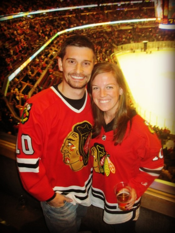 This is us almost exactly 2 years ago at one of our first Hawks games together. Time flies!