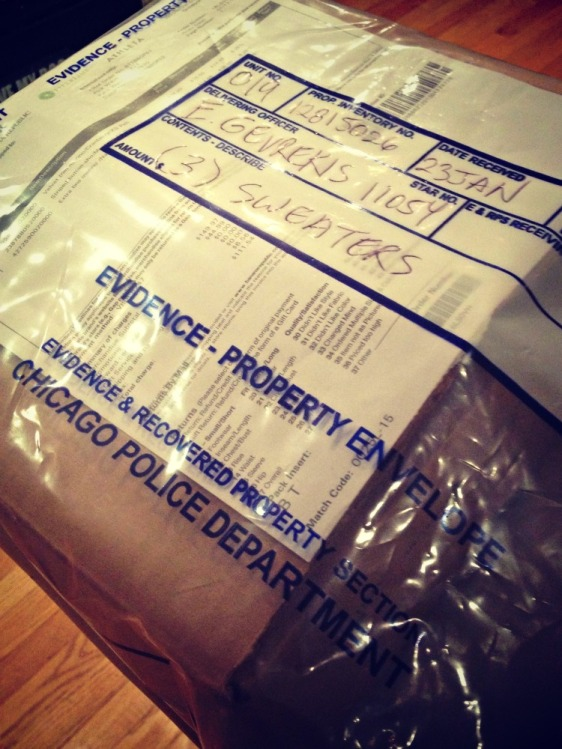 Ah yes, my beloved sweaters were delivered to be in an evidence bag.  What an adventure online shopping can be!