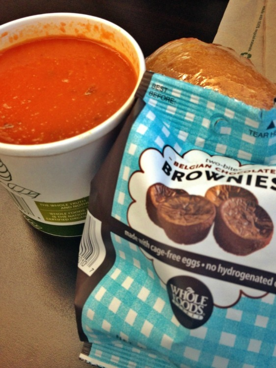 Ah, a delicious and well-balanced (meaning tons of carbs) lunch.  Soup for every meal!